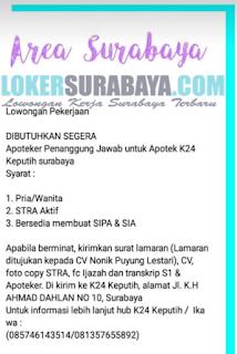 Loker Surabaya Terbaru di Apotek K24 Keputih Juni 2019