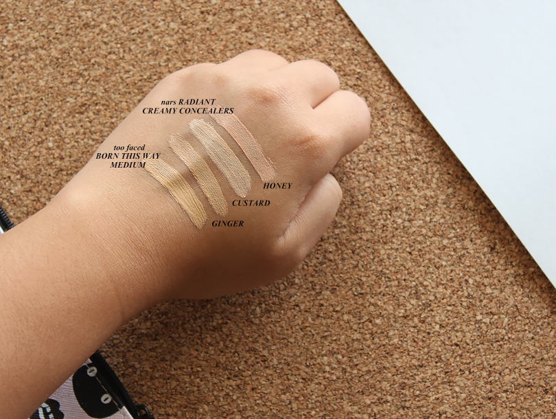 too faced born this way concealer review swatch swatches medium color shade comparison mac nc30 nc25 nars custard ginger radiant creamy concealer