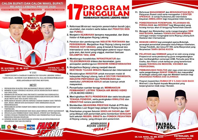 Inilah 17 Program Unggulan Faisal-Fatrol Calon No 1 RL