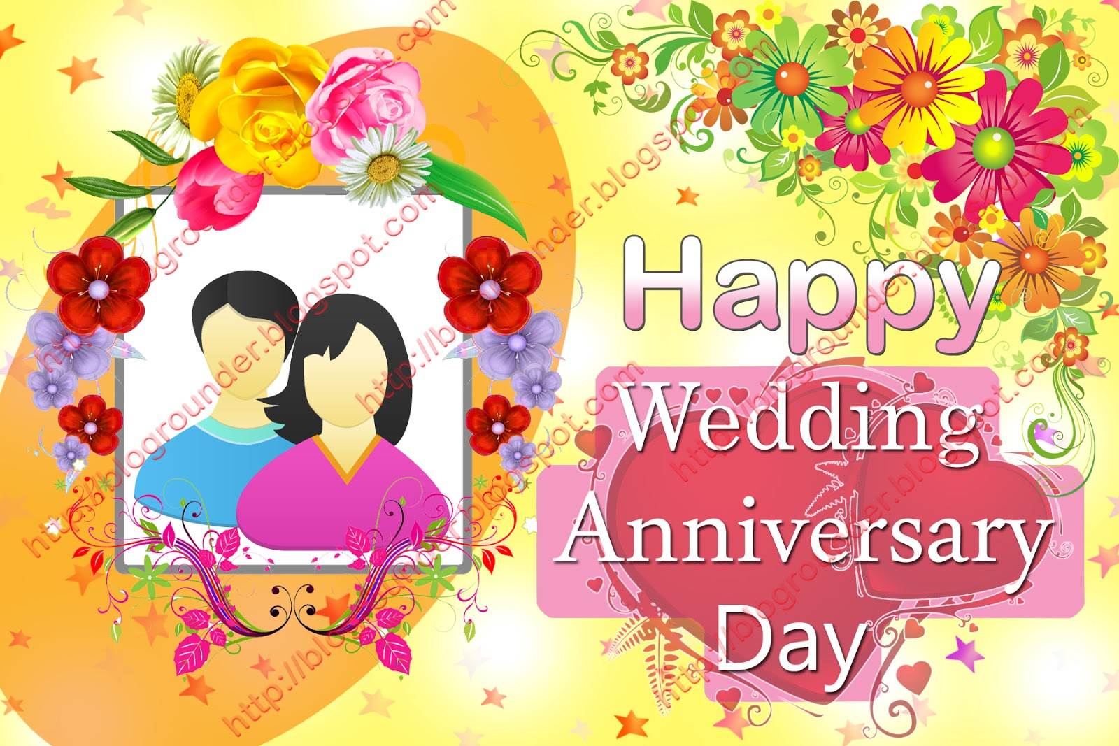 Happy Wedding Anniversary Day Greeting Photoshop Psd File Free Download