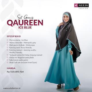 Koleksi Gamis Syari Muslimah Qaureen Ice Blue Series Set Syari by AULIA Fashion