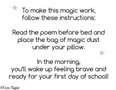Creative Playground: Magic First Day of School Dust & Solving Messy
