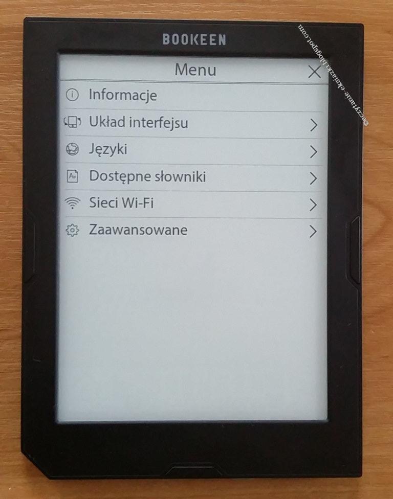 Cybook Muse Light - menu kontekstowe wywowałane z poziomu ekranu głównego