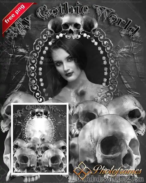 Plantilla blanco y negro para enmarcar tus fotos al estilo Gothic