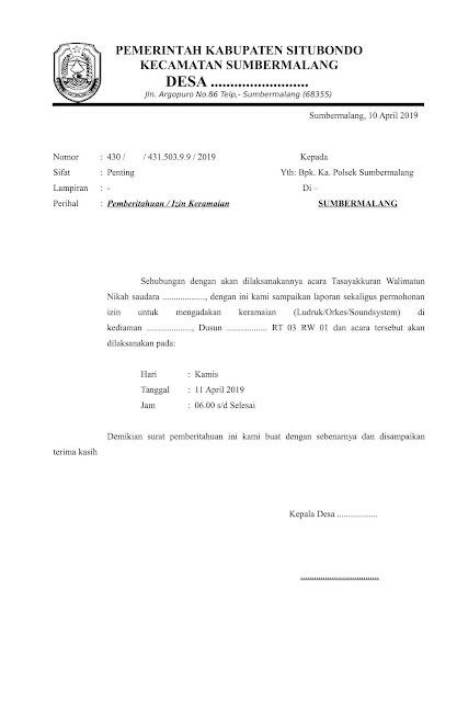 Format Surat Ijin Keramaian ke Polsek