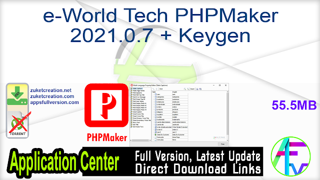 e-World Tech PHPMaker 2021.0.7 + Keygen