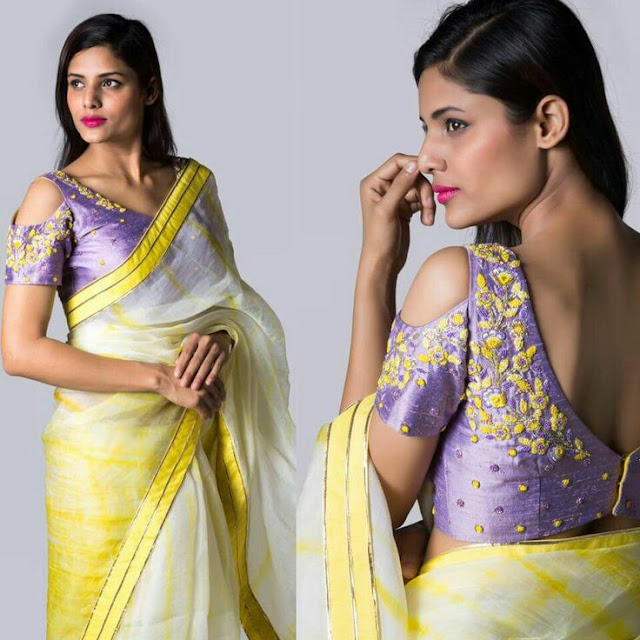 88209e356ae452  2 Stylish brocade cold shoulder blouse design for saree