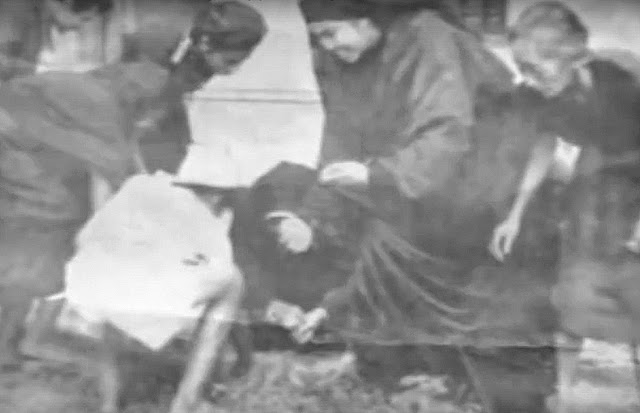 Carmelite nuns are seen stooped gathering petals after a shower.  Image captured from June Keithley and Center for Peace Asia documentary on YouTube.