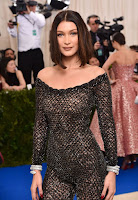 Bella Hadid in naked dress at Met Gala 2017 red carpet