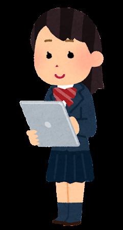 タブレットを使う学生のイラスト(女子)
