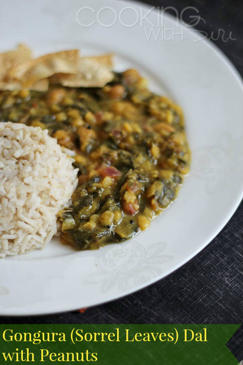 Andhra Style Gongura Pappu (Sorrel Leaves Dal) With Peanuts Recipe