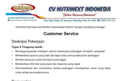 Lowongan Kerja Costumer Service CV NUTRINEXT INDONESIA Penempatan Tasikmalaya