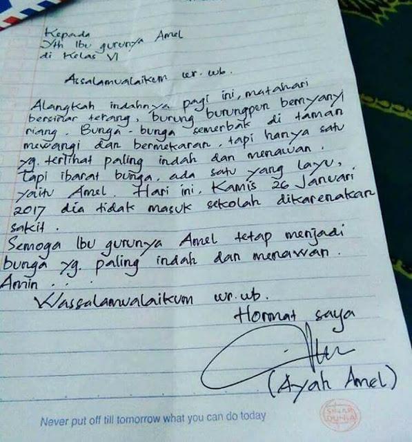 Ayah Amel, membuat surat izin puitis kepada guru anaknya.