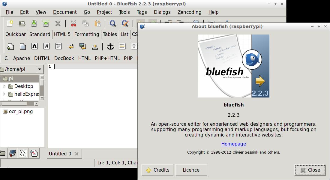 Hello Raspberry Pi: Install Bluefish Editor on Raspberry Pi