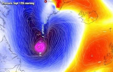 Σπάνιο φαινόμενο : Ο τυφώνας Λάρι μετατράπηκε σε μια ακραία χειμερινή καταιγίδα που θα πλήξει την Γροιλανδία την επόμενη εβδομάδα