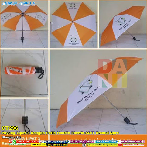 Payung Lipat 3 Rangka Putih Handle Plastik SDIT Ummul Quro