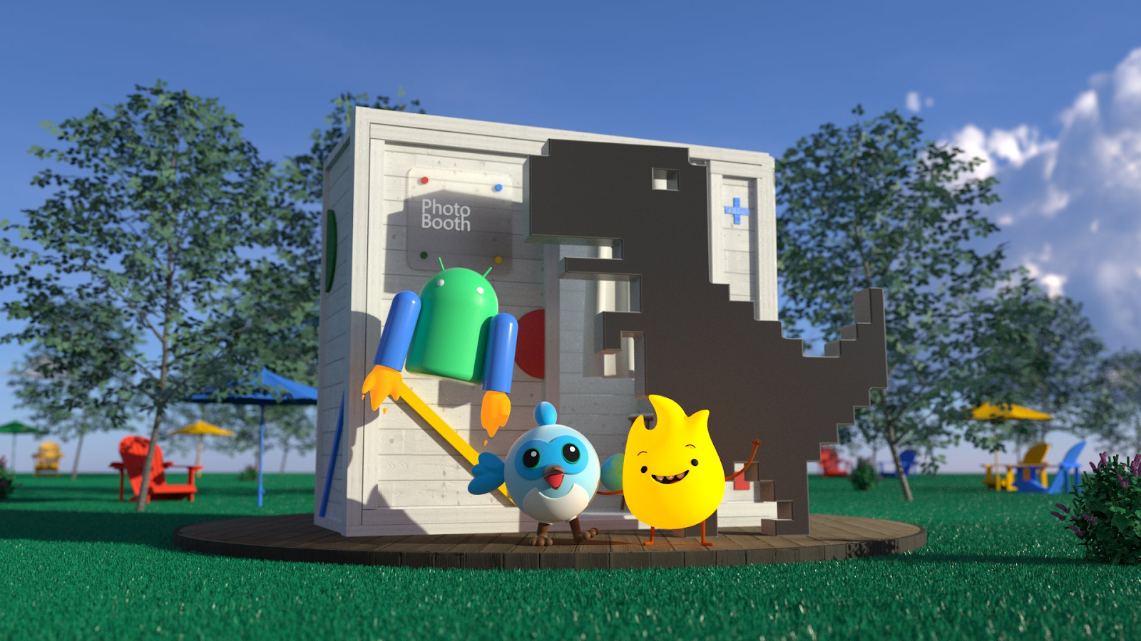 Android, Dino, Dash, and Sparky all gathered around the photo booth