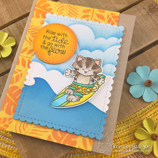 Surfing cat card by Jennifer Jackson | Newton's perfect Wave Stamp Set by Newton's Nook Designs #newtonsnook #handmade