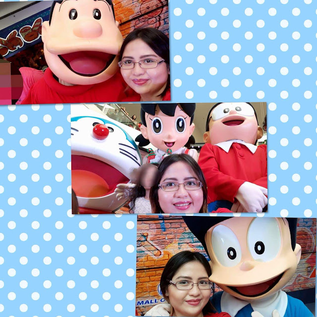 Posing with the mascots of Doraemon, Nobita, Shizuka, Damulag (Gian/Takeshi) and Suneo, and cosplayer Dorami (Doraemon's younger sister)