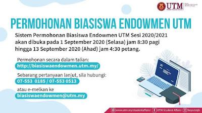 Permohonan Biasiswa Endowment UTM 2020/2021 Online (Semakan Status)