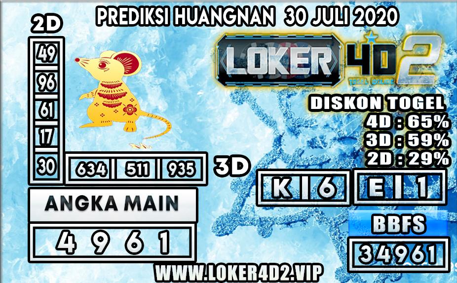 PREDIKSI TOGEL LOKER4D2 HUANGNAN 30 JULI 2020