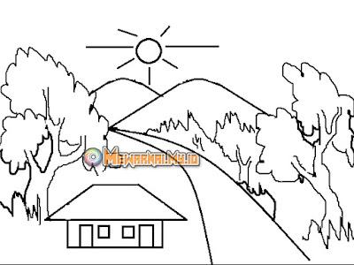 gambar pemandangan gunung untuk mewarnai