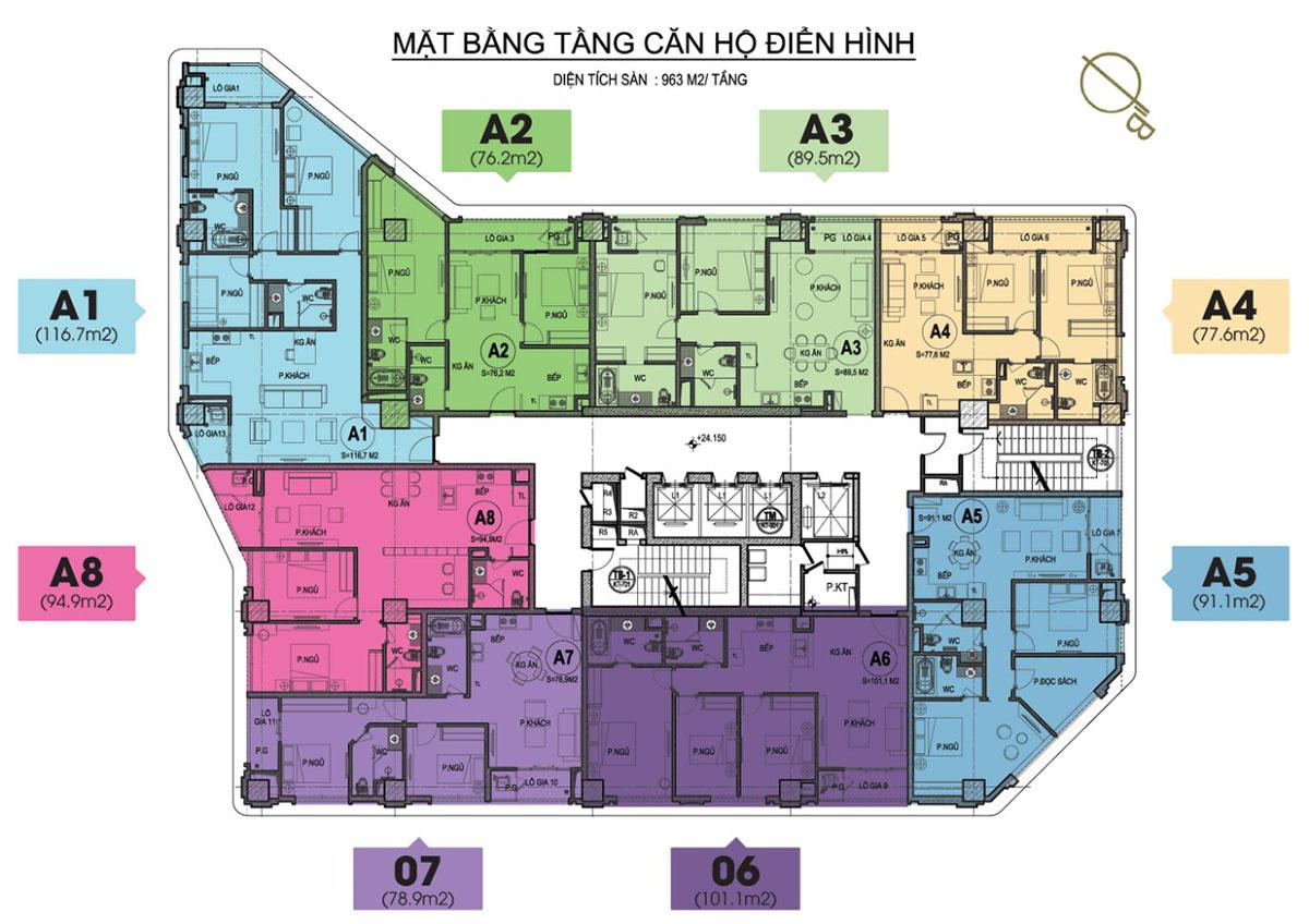 Mặt bằng căn hộ chung cư HDI 55 Lê Đại Hành