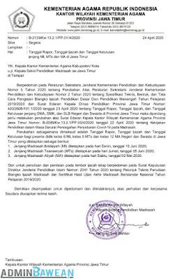 Surat Edaran Tanggal Rapor, Ijazah dan Kelulusan jenjang MI, MTs dan MA di Jawa Timur TAPEL 2019/2020