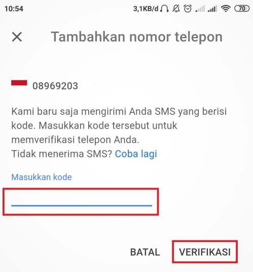 kolom untuk memasukkan kode verifikasi dari Google