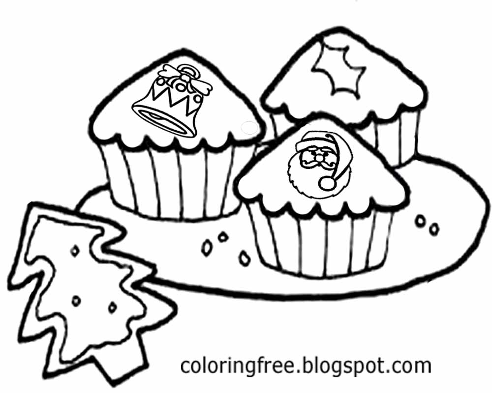 Merry Christmas Cupcake Coloring Picture Stuff To Draw For