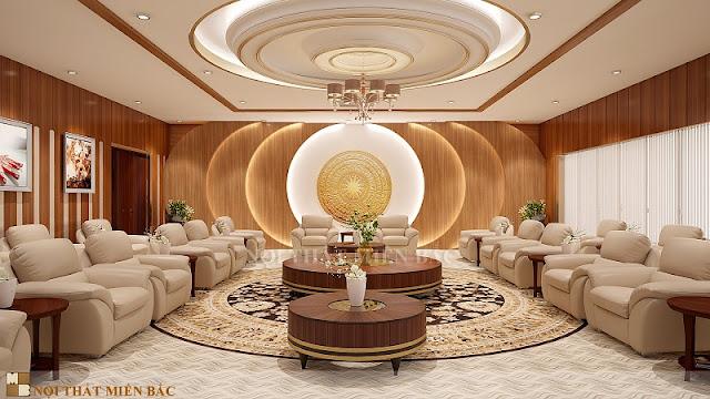 Những thiết kế ghế sofa bọc da cao cấp là sản phẩm quen thuộc trong các không gian thiết kế phòng khánh tiết sang trọng