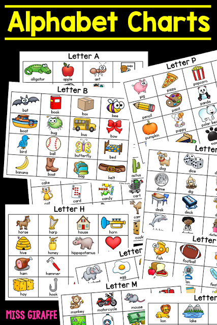 Alphabet Charts for each letter for so much reading practice! These are so nice to have when teaching kids beginning sounds so you have a lot of great word and picture examples all on one sheet!