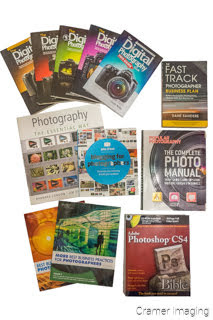 Cramer Imaging's photograph of several different photography and photography-related education books