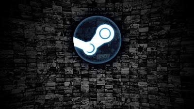 Steam logo en grande con fondo de juegos