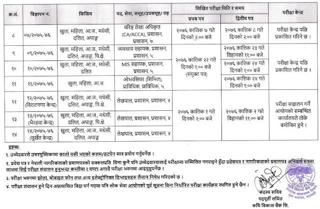 Agricultural Development Bank Written Exam Routine 2076 - 2