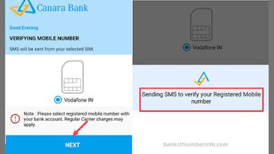 Register number on Canara Bank