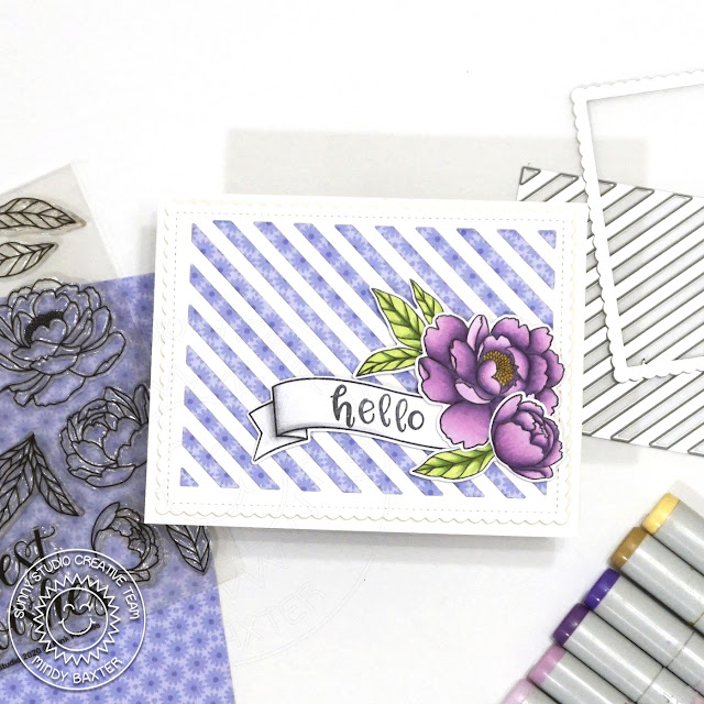 Sunny Studio Stamps: Pink Peonies Frilly Frame Dies Hello Card by Mindy Baxter