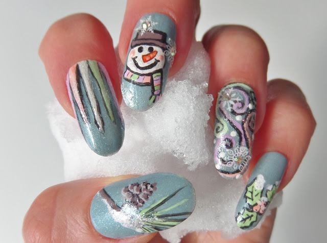 snowman winter nail design