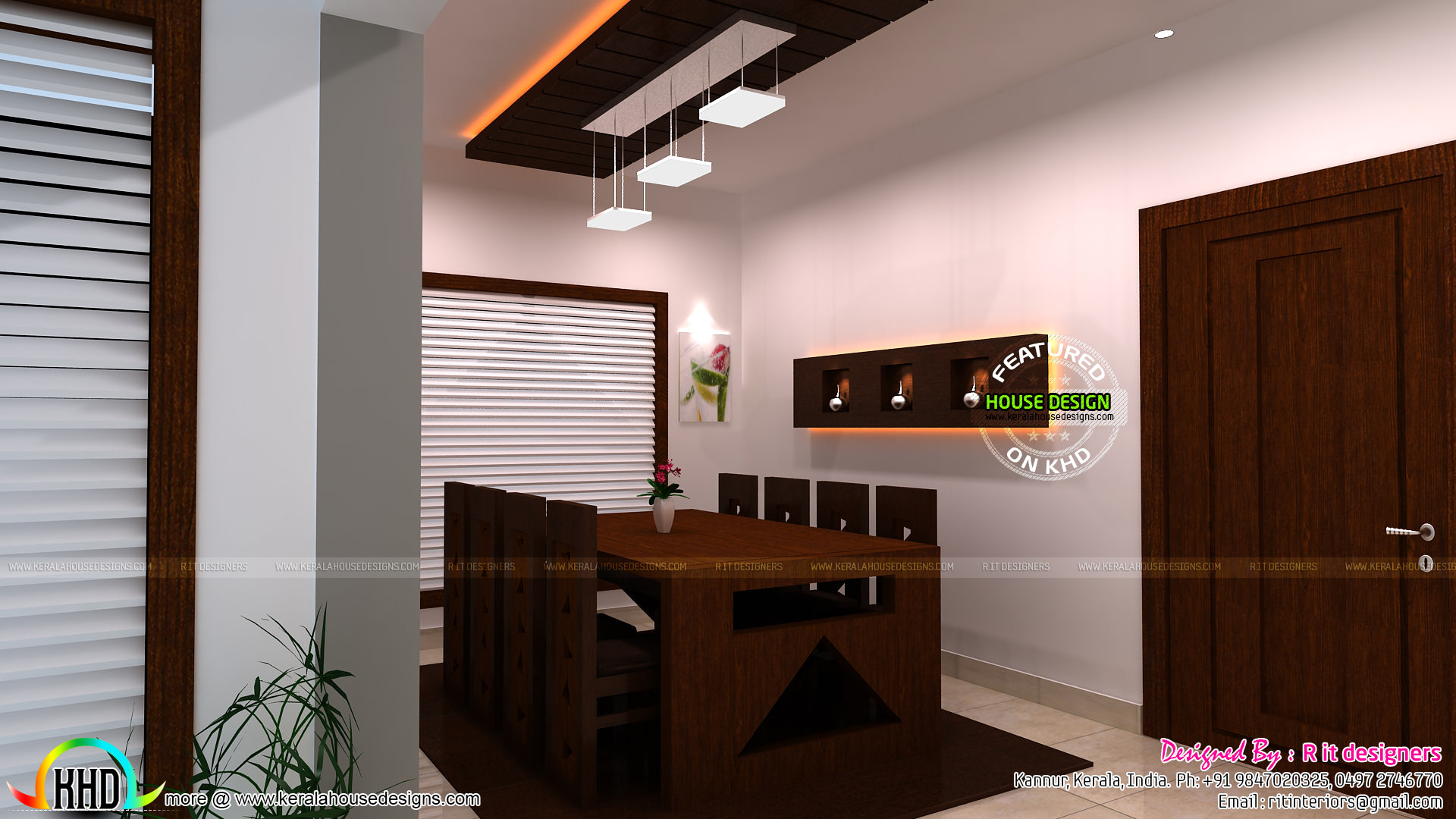 Kitchen dining and living interior designs kerala home for Kitchen dining interior design