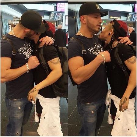 So Romantic: Nigerian Footballer, Chichi Igbo and Her Boyfriend Kiss in Public (Photos)