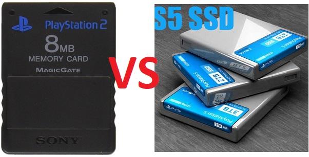 PS2 Memory Card vs PS5 SSD Hard Drive