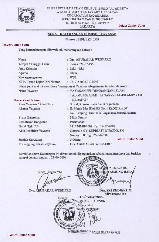 Contoh Surat Keterangan Domisili Yayasan Folder Contoh Surat