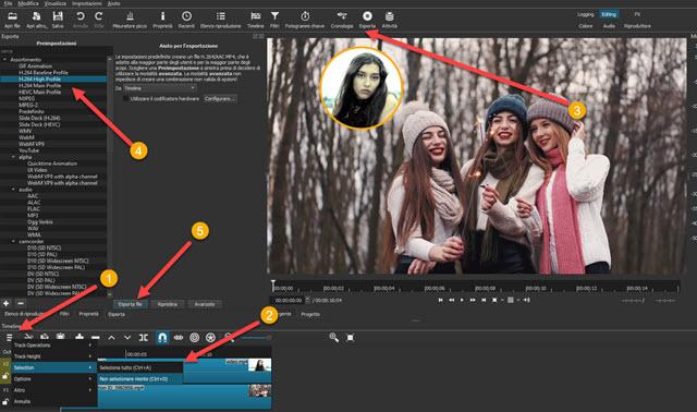 esportazione del video circolare sovrimpresso