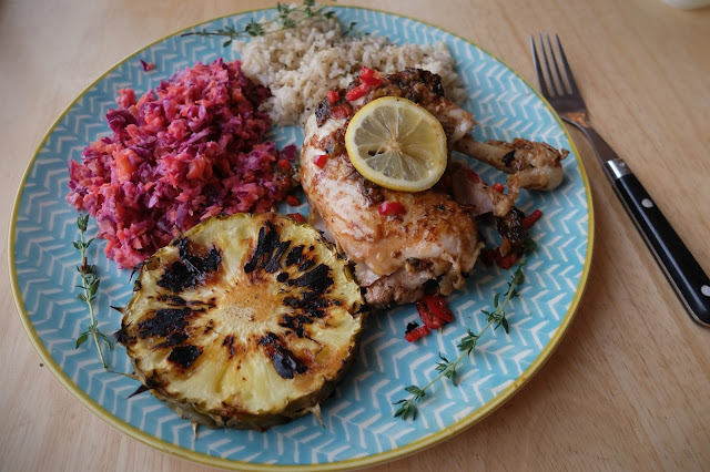 Jerk Chicken Recipe Rice Slaw Pineapple PKP