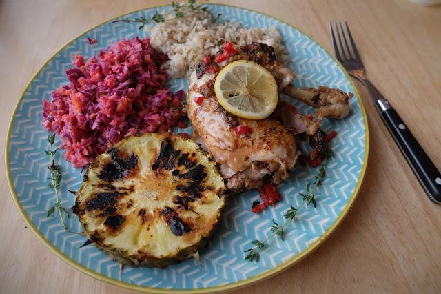 Jerk Chicken Recipe Rice Slaw Pineapple PKP