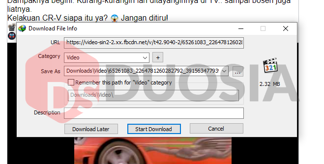 download facebook video tanpa software tambahan