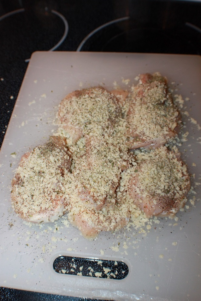 these are chicken cutlets ready to fry. They are coated in bread crumbs on raw chicken boneless breasts