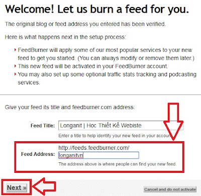Feed cho blogspot bạn nhập tên Feed