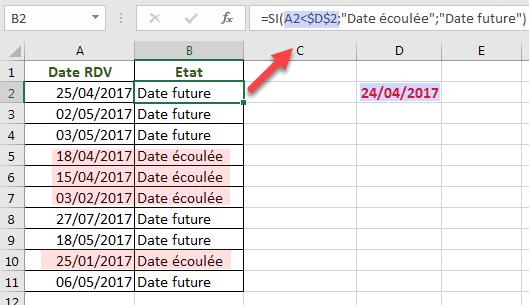 Fonction SI utilisant date contenue dans une cellule