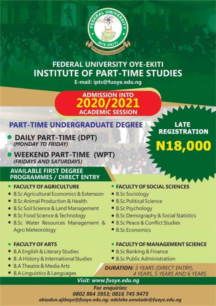 FUOYE DPT & Weekend Part-Time Admission Form 2020/2021